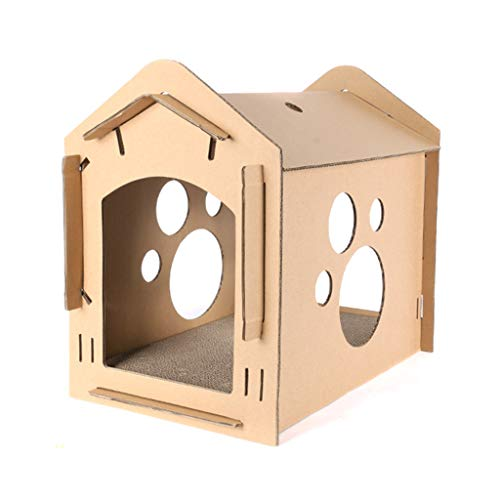 Corrugated Paper Carton Box Cat Tickler Scratch Board Bed Folding Cat Cube House Nest Sleeping Carton Bed Paw Grinding Chew Easy Disassembly Hollow Carton House