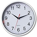 8' Silent Quartz Wall Clock Non-Ticking Digital Clock (White)