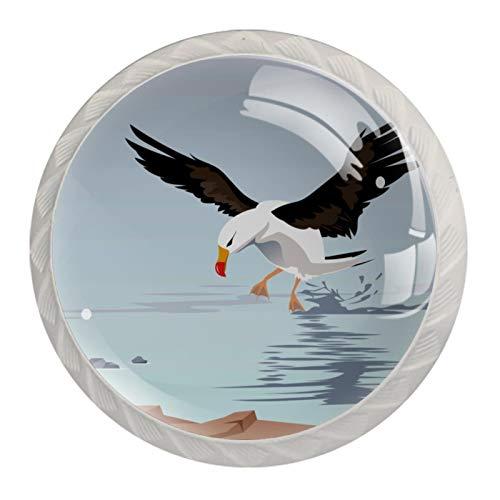 Un albatros errante en el mar, pomos de resina para cajones de armario, perillas decorativas para armario, traje de cuatro piezas