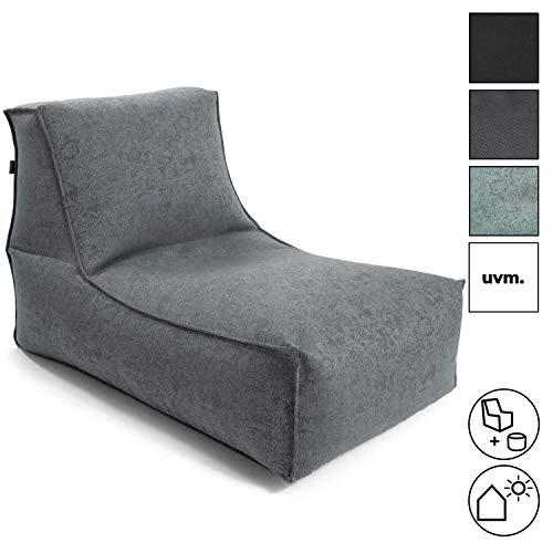 mokebo® Sitzsack 'Der Sundowner', kleine Indoor & Outdoor Liege oder Relaxliege, Made in Schwarzwald, Sitzsack, Webstoff in Grau 094