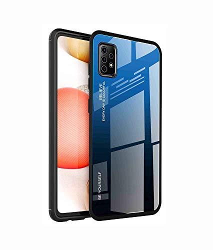LEYAN Vetro Sfumato Cover per Samsung Galaxy A72 | A72 5G, Cover con Schienale in Vetro temperato + Cornice Paraurti in Silicone Morbido, AntiGraffio Custodia Protettiva Case (7)