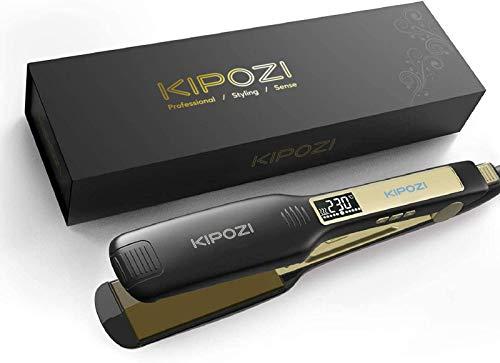 KIPOZI Professional Hair Straighteners Wide Plate Titanium Flat Iron with Digital LCD Display,...