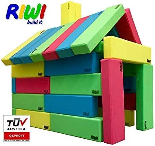RIWI 24er Bausteinset   XXL Schaumstoffbausteine   Größe Soft-Baukl e   TüV Austria Zertifiziert   Kindergarten Qualität   Ergotherapie