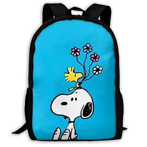 Mei-shop Casual Backpack Sn-oopy with Flower Print Zipper School Bag Travel Daypack Backpack