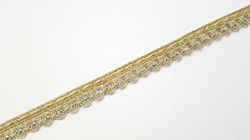 1 Meter Pailletten-Spitzenband zum Aufnähen, erhältlich in Gold, Silber und Kupfergold, 1,5 cm breit gold