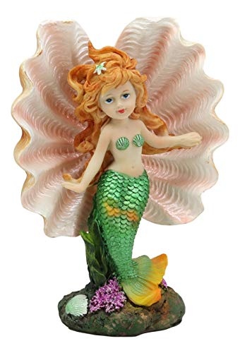 ShopForAllYou Figurines and Statues 6.75' H Colorful Nautical Mermaid Mergirl with Giant Shell and Green Tail Statue