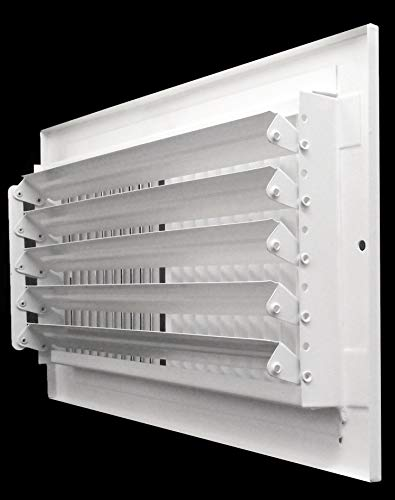 "16""w X 6""h 2-Way-Flat Stamped Steel - Vent Cover - Grille Register - Sidewall or Ceiling - High Airflow - White [Outer Dimensions: 17.75""w X 7.75""h]"