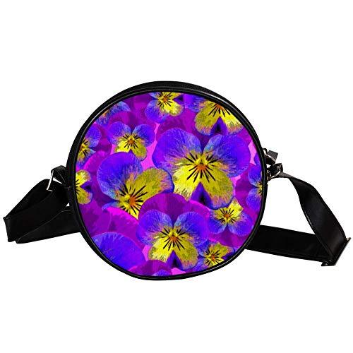 Coosun Stiefmütterchen, Zeichnung, Blüte, Frühling, runde Crossbody-Tasche, Umhängetasche, Handtasche, Handtasche, Umhängetasche, Schultertasche für Kinder und Damen