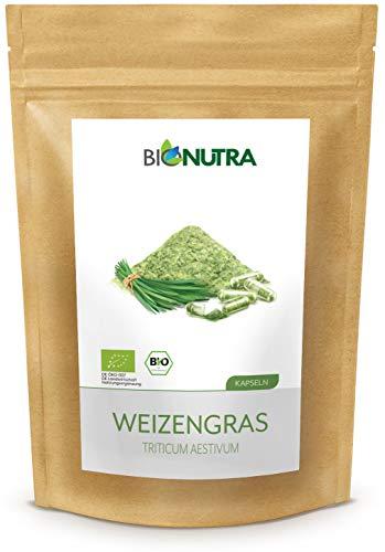 BioNutra Organic Wheatgrass Capsules - 240 Vegan Caps of 400mg Wheatgrass Powder - 100% Organic High Strength Supplement - Gluten Free - No Fillers