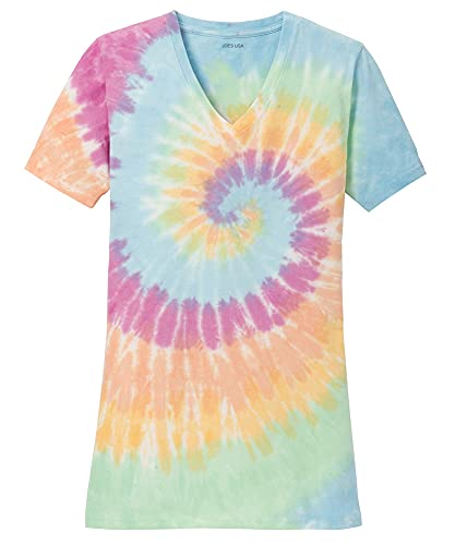 Joe's USA Koloa Surf Ladies Colorful Tie-Dye V-Neck T-Shirt-Pastel-3XL