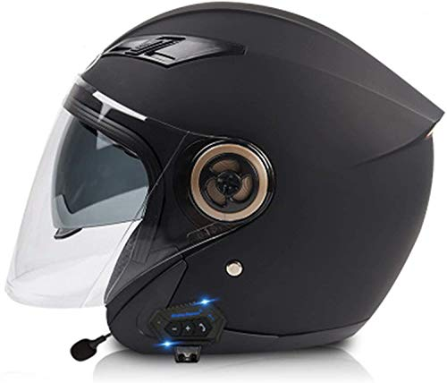 Cascos De Moto Jet Con Bluetooth, Medio Casco De Moto Con Doble Visera Para El Sol Aprobación ECE/DOT Scooter Chopper Skateboard Ciclismo Jóvenes Hombres Mujeres Casco A