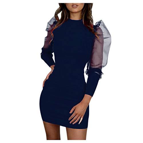 URIBAKY Mode Frauen O-Neck Laternenärmel Partykleider Damen Perspektive Netzhülse Casual Minikleid Festliche Kleider Abendkleider Kurz