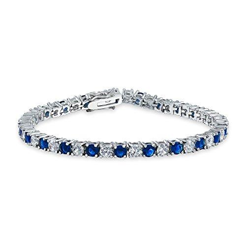 Bling Jewelry Royal Blue White alterna simulato Zaffiro Rotondo cubico Zirconia 12.00 CT 4 Prong Basket Set Solitario AAA CZ Braccialetto da Tennis per Donna Sposa Ballo Argento Placcato 7,5 Pollici