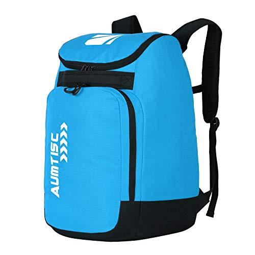 AUMTISC Skischuhtaschen mit Helmfach und Rucksackgurten, Skirucksack Skischuhrucksack mit Helmtasche, Skitasche Siksack für Skistiefel, Schlittschuhe, Snowboard Blau