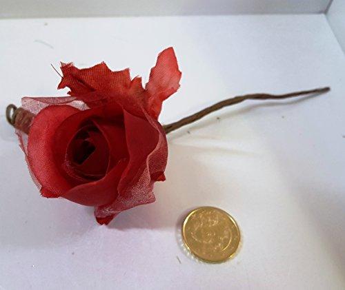 Set 29 pièces, Bonbonnière Bouquet Fleur Tissu avec feuille (14 x 7 cm.) X marque place, confettata (CK1511) Rouge