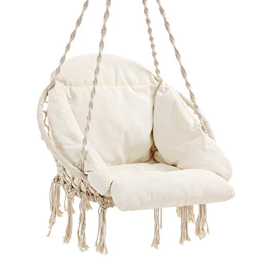 SONGMICS Hanging Chair, Hammock Chair with Large, Thick Cushion, Swing Chair, Holds up to 264 lb, for Terrace, Balcony, Garden, Living Room, Scandinavian, Shabby Chic, Cloud White UGDC042M01