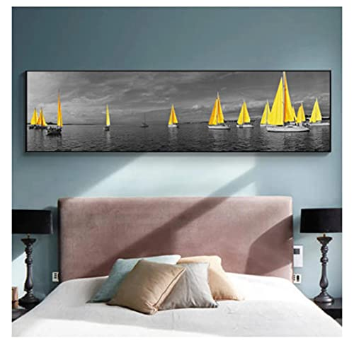 Canvas Wall Sea Yellow Boat Bridge Tower Posters And Prints Landscape Pictures For Home Canvas painting Wall Art For Living Room Decoration Wall Decoration 50x100cm1PS Noframe