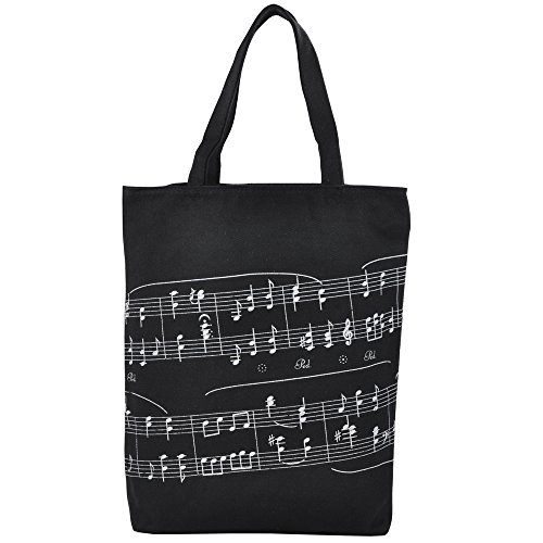KingPoint Einkaufstasche aus dicker Baumwolle, Handtasche mit Musikmotiv, Notenschlüssel, Noten-Muster Schwarz