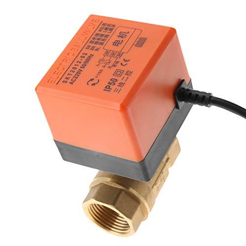 LANTRO JS - Válvula de bola motorizada AC 220V, válvula eléctrica G1 DN25 de 2 vías y 3 cables, válvula de bola eléctrica motorizada de latón