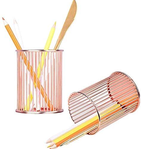 2 piezas rosa oro lápiz pluma pluma lápiz titular de lápiz maquillaje pincel lápiz contenedor escritorio organizador escritorio suministros de artículos de papelería organizador para herramientas de o