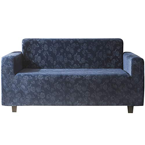 Funda de sofá de 1 2 3 4 plazas de terciopelo de cristal suave, funda de sofá de felpa de cristal suave, funda de muebles de lujo elegante con reposabrazos, funda de sofá (azul oscuro, 1 plaza)
