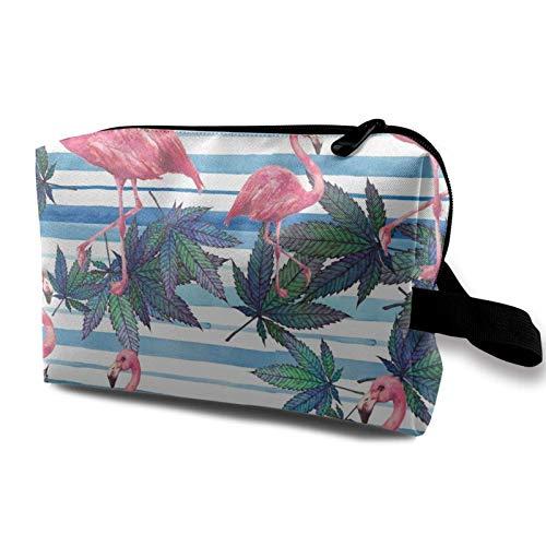 XCNGG Bolsas de maquillaje para mujeres y niñas, bolsa de cosméticos de moda, neceser de viaje lindo, diseño de flamenco rosa y marihuana para la playa