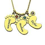 Collar Personalizado con Nombre Grabado Pies de bebé Collar Colgante Hecho con Piedra de Nacimiento - Joyas Personalizadas (3 pies 3 Piedras de Nacimiento)