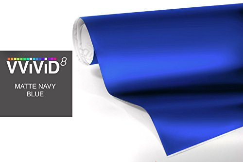 Matte Dark Blue Car Wrap Vinyl Roll with Air Release 3mil-VViViD8 (17.75 Inch x 5ft)