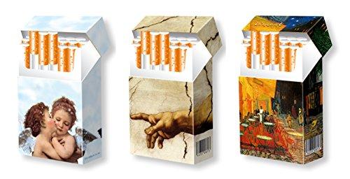 slipp overall - 3er Set - Designs: Engel + Michelangelo + Vincent - hübsche Zigarettenschachtel Hüllen aus Karton - 3 STK. komplette Überzieher mit Deckel - Standardgröße für die meisten L-Schachteln