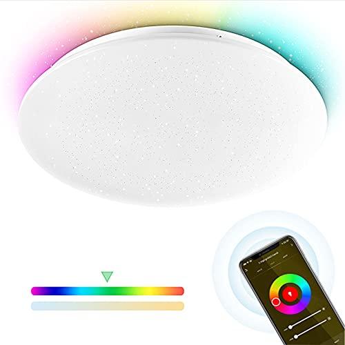 Led Deckenleuchte dimmbar RGBW, Smart Deckenlampe Rund mit Sternenhimmel 24W 2700-6500K 35cm Wifi kompatibel mit Alexa Google Home Wohnzimmerlampe Wlan Deckenbeleuchtung für Kinderzimmer Badezimmer