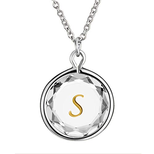 LovePendants 16-18' Pendant/Necklace in White Swarovski Crystal with Gold Enameled Initial S Engraving in Sterling Silver.