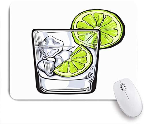 Benutzerdefiniertes Büro Mauspad,Brown Lime Glas Gin Wodka Soda Wasser Eis Essen Trinken Bunte Alkohol Schnaps Tequila Sketch Bar Party,Anti-slip Rubber Base Gaming Mouse Pad Mat