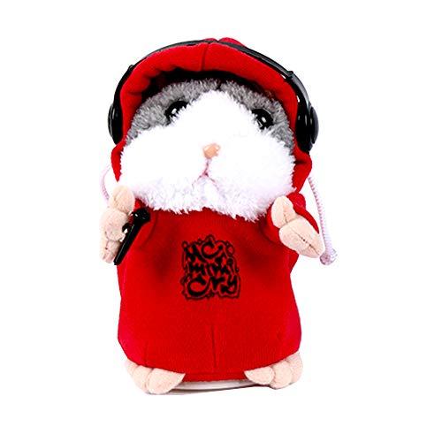 Hamster de Peluche de Juguete,Talking Hamster Repite lo que Dices Cute Plush Electronic Mimicry Hamster Juguete de Peluche Interactivo Regalo para Niños Cumpleaños y Fiesta (Rojo Estilo Aleato