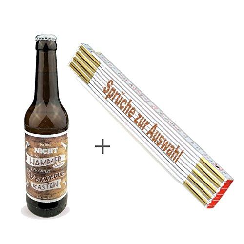 2-TLG. Geschenkset/Zollstock mit Spruch-Gravur und Handwerker-Bier/Männergeschenk/Handwerker/Vatertag/Geburtstag, Sprüche Zollstock:PASST. WACKELT UND HAT Luft