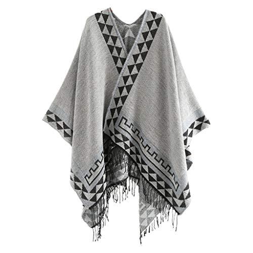 XuHang Damen Winter Quaste Poncho Cape Vintage Bunt Geometrisch Streifen Muster Decke...