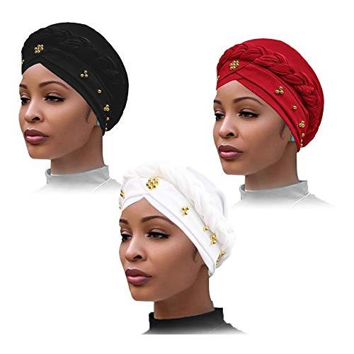YMHPRIDE 3 Pièces Femmes Turban Foulard Perlé, La Tresse Perlée Head Wrap Couvre-cheveux, Chapeau Twisted Braid Wrap, Bonnets, Bonnet Faux Perle Head Wrap, Sleep Hat (Noir, Blanc, Rouge)