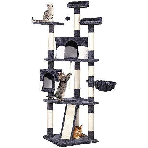 Yaheetech 79in Multi-Level Cat Trees with Sisal-Covered Scratching Posts, Plush Perches and Condo for Kittens, Cats and Pets - Gray and White (Renewed)