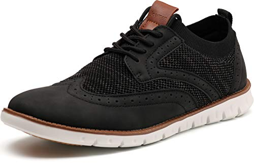 JOOMRA Men's Knit/Leather Wingtip Oxford Dress Shoes Lightweight Breathable Casual Sneakers for Male...