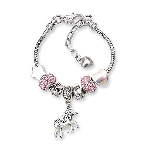 Bracelet à Breloque avec Licorne,Bracelet en Cristal Rose Brillant Bijoux Charms pour Enfant Fille Anniversaire 6-12 ans