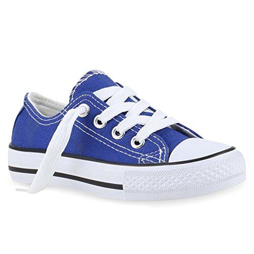 Stiefelparadies Kinder Sportschuhe Sneakers Turnschuhe Schnürschuhe 139992 Blau Blau 24 Flandell