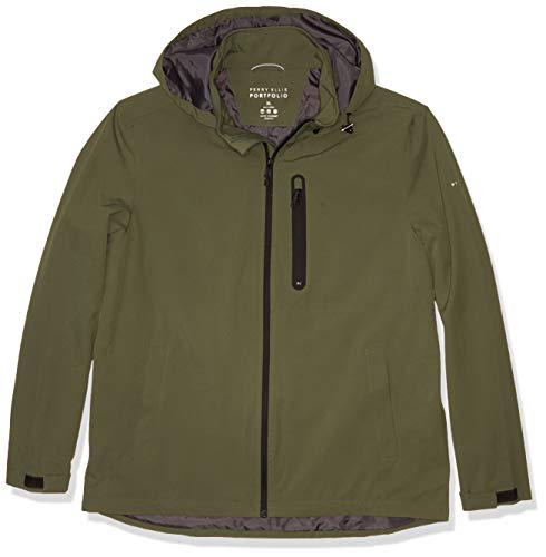 Perry Ellis Men's Stetch Poly Packable Jacket, Thyme, XL