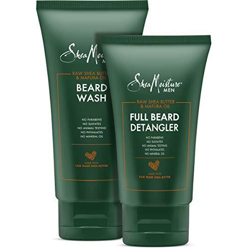 Shea Moisture Beard Wash and Detangler Set, Maracuja Oil & Shea Butter, Beard Wash Deep Clean & Refresh 6 Ounce, Full Beard Detangler Soften Hair And Ease Out Knots, 4 Ounce.