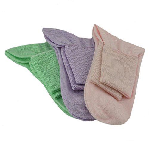 Sierra Socks Women's 3 Pair 100% Cotton Ankle Turn Cuff Seamless Toe (10 (Fits Shoe Size 7 1/2-9), A4 (Pink/Frost/Honeydew))