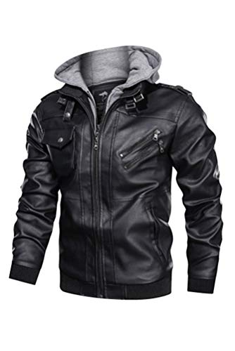 Minibee Men's Faux Leather Jacket Zip-Up Vintage Stand Collar Motorcycle PU Leather Outwear Coat with Removable Hood Black