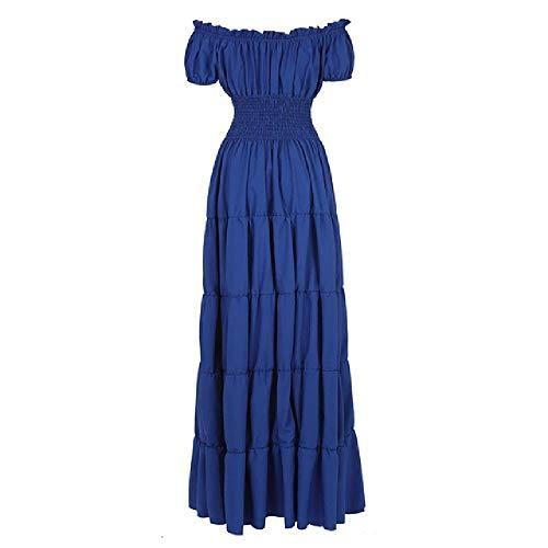 N\P Vestido largo plisado retro de manga corta para mujer con hombros descubiertos, cintura fruncida