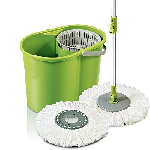 LiChaoWen Mops Ultrafinas Fibras Son Spun, Cubo giratorio que se puede girar 360 ° para fregona de microfibra de cocina y baño (color: verde, tamaño: 43 x 30 cm)
