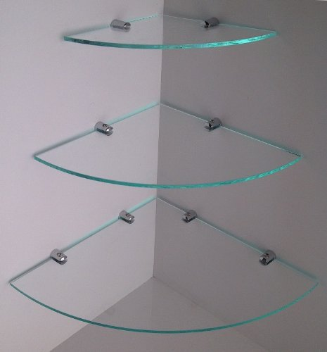 Eckregal aus Acryl, Glas-Effekt, mit verchromten Halterungen