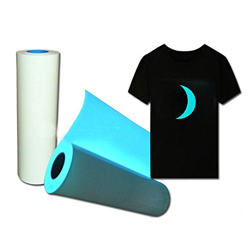 "HOHOFILM 20""x40"" Glow in The Dark Blue Heat Transfer Vinyl Iron on Papers Heat Press Film DIY Tshirt HTV Garments and Other Fabrics"