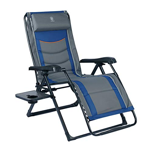 EVER ADVANCED Oversize XL Zero Gravity Recliner Padded Patio Lounger Chair with Adjustable Headrest...