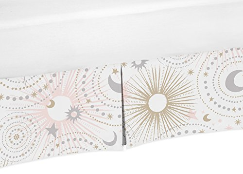 Blush Pink, Gold, Grey and White Star and Moon Baby Girl Pleated Crib Bed Skirt Dust Ruffle for Celestial Collection by Sweet Jojo Designs